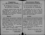 Hasselt, affiche van 5 december 1918 - inleveren van wapens, krijgsvoorraad en vuurwerk.