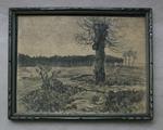 Landschap met solitaire boom met boomkapel.