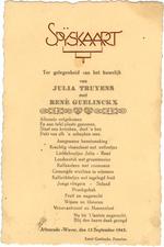 Menukaart huwelijk Julia Truyens - René Guelinckx