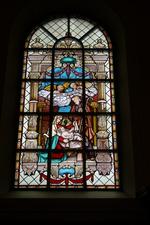 Glas-in-loodraam 'Geboorte van Jezus'.