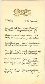 Menukaart huwelijk Mia en Adrien Van Welkenhuyzen