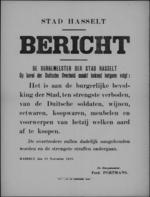 Stad Hasselt, affiche van 18 november 1918 - verbod op het aankopen van wijnen, eetwaren of voorwerpen afkomstig van Duitse soldaten.