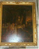 Boudewijn I legt het zwaard van Godfried van Bouillon op het graf van Christus