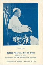 Bidprent 'Bidden voor en met de Paus', maart 1958.