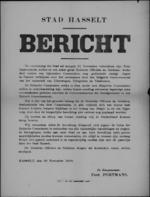 Stad Hasselt, affiche van 20 november 1918 - ontruiming stad door het Duitse leger, bevolking dient zich te onthouden van vijandelijkheden jegens Duitse officieren en soldaten.