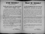 Stad Hasselt, affiche van 30 juli 1919 - bijzondere toelage voor oud-strijders die ongehuwde wezen zijn.