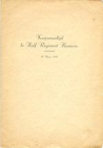 Menukaart korpsmaaltijd 1ste Half Regiment Huzaren
