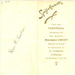 Menukaart feestmaal H. vorming Monseigneur Lamiroy