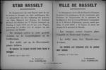 Stad Hasselt, affiche van 6 april 1919 - troepenschouwing en defilé, huizen bevlaggen.