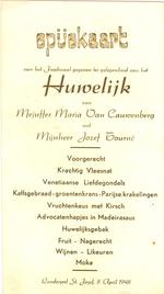 Menukaart huwelijk Maria Van Cauwenberg - Jozef Tourné
