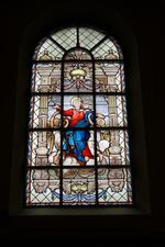 Glas-in-loodraam 'Tenhemelopneming van Maria'.