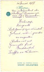 Menukaart plechtige communie Jos Vermaelen