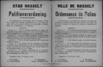 Stad Hasselt, affiche van 15 februari 1919 - opschorting van feestelijkheden Vastenavond.