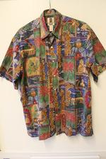 Een Hawaiiaans overhemd met Damiaan-print