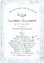 Menukaart huwelijk Mathilde Vaerewyck - Charles Gessler