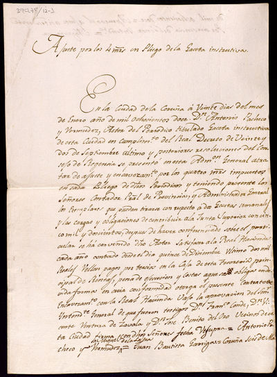 Expediente para o pago polo actor do periódico La Gaceta Instructiva dos catro maravedís impostos en cada prego do periódico