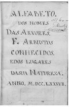 Alfabeto dos nomes das arvores e arbustos conhecidos e dos lugares da sua natureza : manuscrito