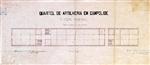 Quartel de Artilharia em Campolide: corpo principal: planta do pavimento terreo