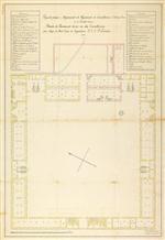 Projecto para o alojamento do Regimento de Cavallaria nº 11 na Deveza de Castello Branco: planta do pavimento terreo ou das cavallariças