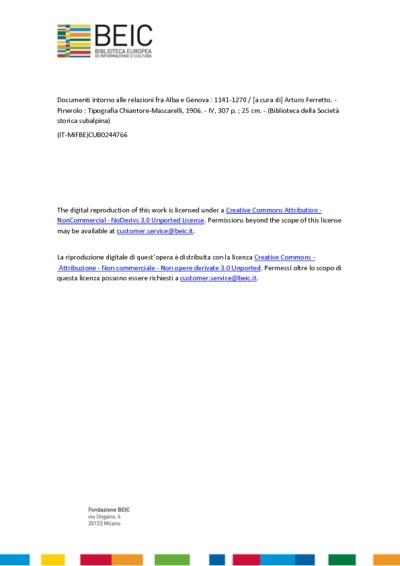Documenti intorno alle relazioni fra Alba e Genova 1141-1270