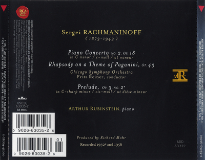 Piano concerto no. 2 op. 18 ; Rhapsody on a theme of Paganini, op. 43 ; Prelude op. 3 no. 2