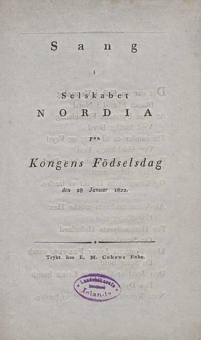 Sang i selskabet Nordia
