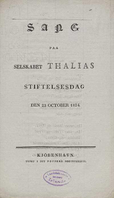 Sang paa selskabet Thalias stiftelsesdag