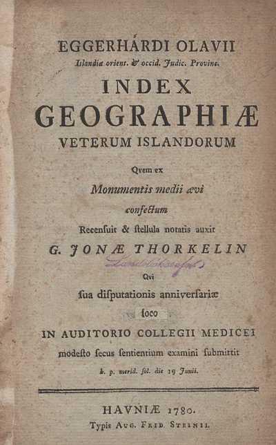 Index geographiæ veterum Islandorum