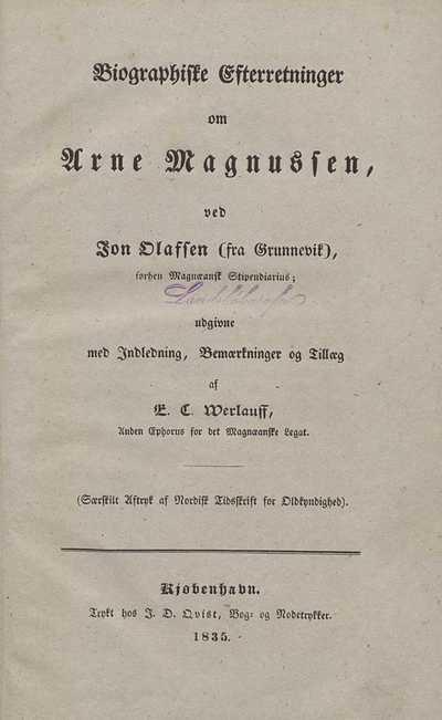 Biographiske efterretninger om Arne Magnussen