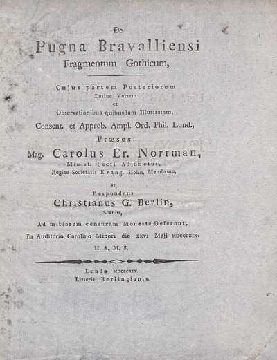 De pugna Bravalliensi fragmentum Gothicum