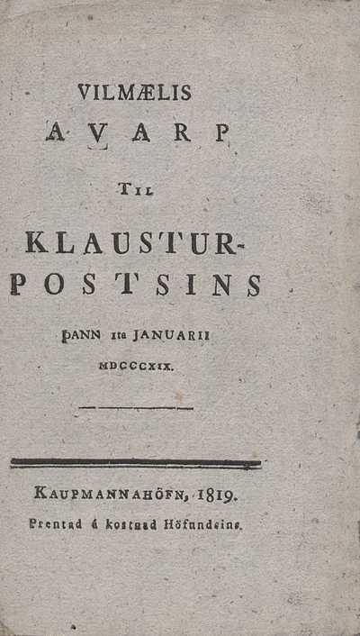 Vilmælisávarp til Klausturpóstsins