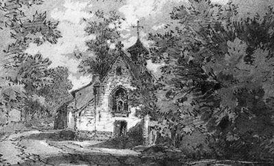 Vue de l'église de Stalle à Uccle en 1879