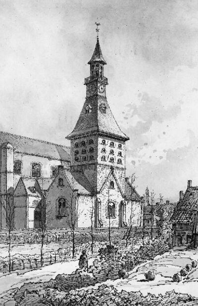 Vue de l'église Saint-Sauveur à Harelbeke