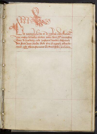 Statuten van het Sint-Janshospitaal en Regel van Augustinus