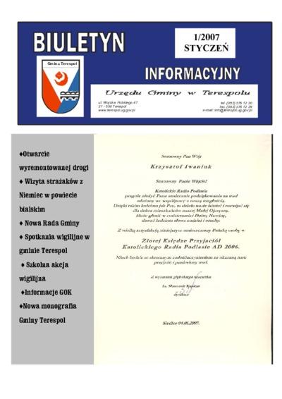 Biuletyn Informacyjny Urzędu Gminy w Terespolu R. 16 (2007) nr 1