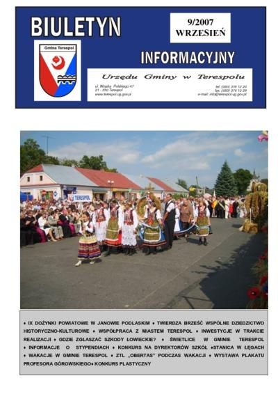 Biuletyn Informacyjny Urzędu Gminy w Terespolu R. 16 (2007) nr 9