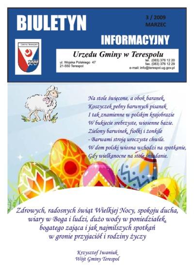 Biuletyn Informacyjny Urzędu Gminy w Terespolu R. 18 (2009) nr 3