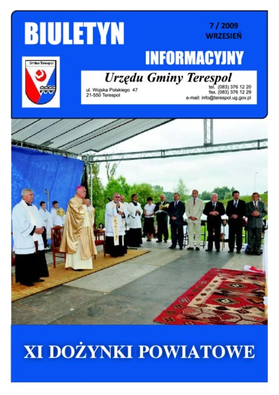 Biuletyn Informacyjny Urzędu Gminy w Terespolu R. 18 (2009) nr 7