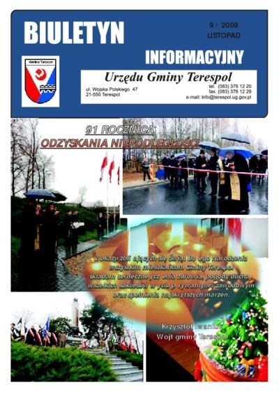 Biuletyn Informacyjny Urzędu Gminy w Terespolu R. 18 (2009) nr 9