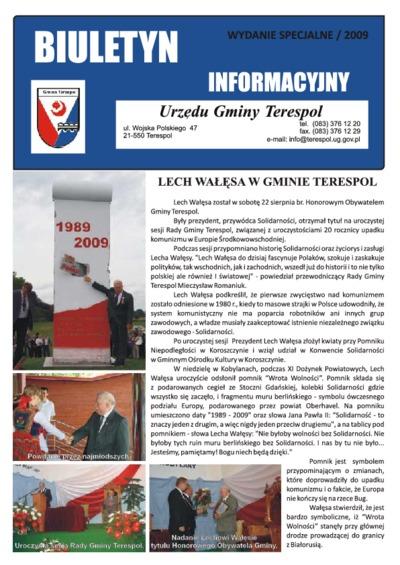 Biuletyn Informacyjny Urzędu Gminy w Terespolu R. 18 (2009) nr specjalny