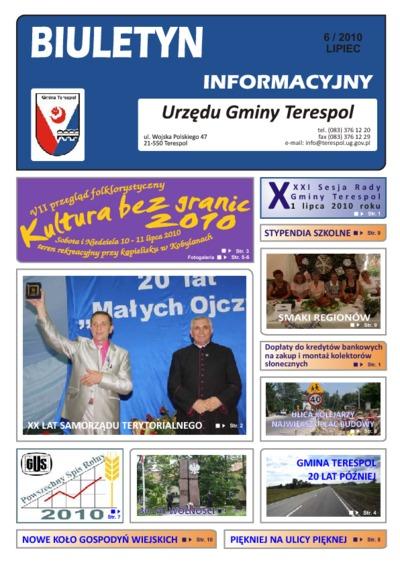Biuletyn Informacyjny Urzędu Gminy w Terespolu R. 19 (2010) nr 6