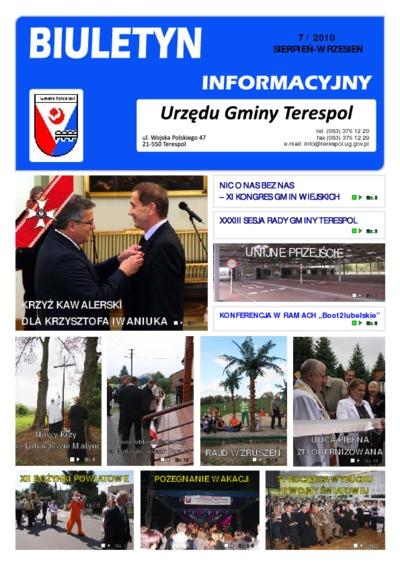 Biuletyn Informacyjny Urzędu Gminy w Terespolu R. 19 (2010) nr 7