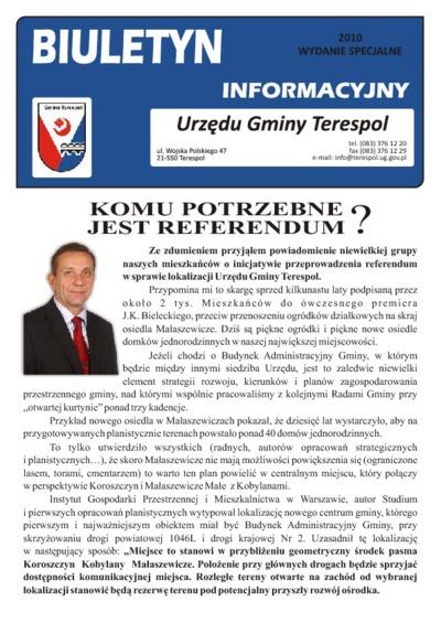 Biuletyn Informacyjny Urzędu Gminy w Terespolu R. 19 (2010) wydanie specjalne