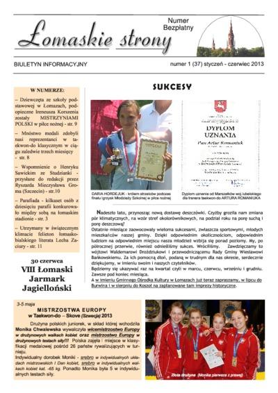 Łomaskie Strony : biuletyn mieszkańców Łomaz i okolic R. 5 (2013) nr 1 (37)