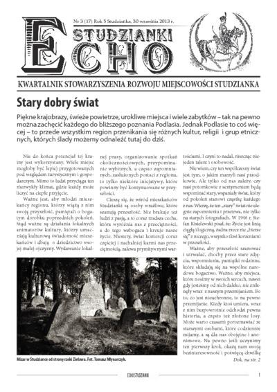 Echo Studzianki : kwartalnik Stowarzyszenia Rozwoju Miejscowości Studzianka R. 5 (2013) nr 3 (17)