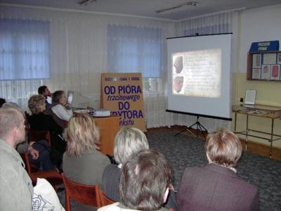 Wystawa Od pióra trzcinowego do do edytora tekstu : historia pisma i druku : otwarcie ekspozycji i zajęcia z młodzieżą