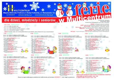Plakat : Ferie w Multicentrum dla dzieci, młodzieży i seniorów, 2013