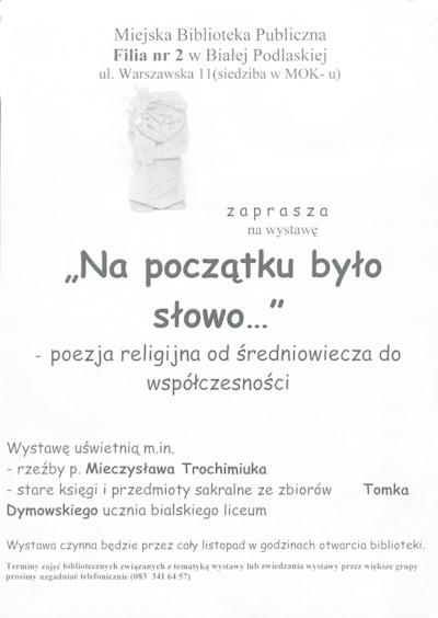 Afisz : Wystawa Na początku było słowo... : poezja religijna od średniowiecza do współczesności, listopad 2009