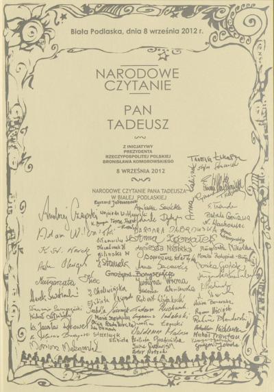 Druk ulotny : Narodowe czytanie Pana Tadeusza w Białej Podlaskiej, 8.09.2012 r.