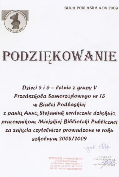 Podziękowanie Przedszkola Samorządowego nr 13 za zajęcia czytelnicze prowadzone w roku 2008/2009